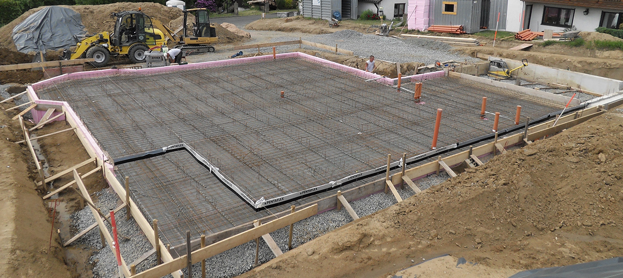 Bodenplatte vor dem Betonieren – Floss